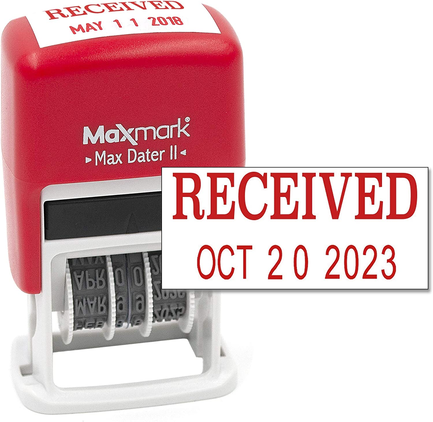 MaxMark Self-Inking Rubber Date Office Stamp with Received Phrase & Date - RED Ink (Max Dater II), 12-Year Band