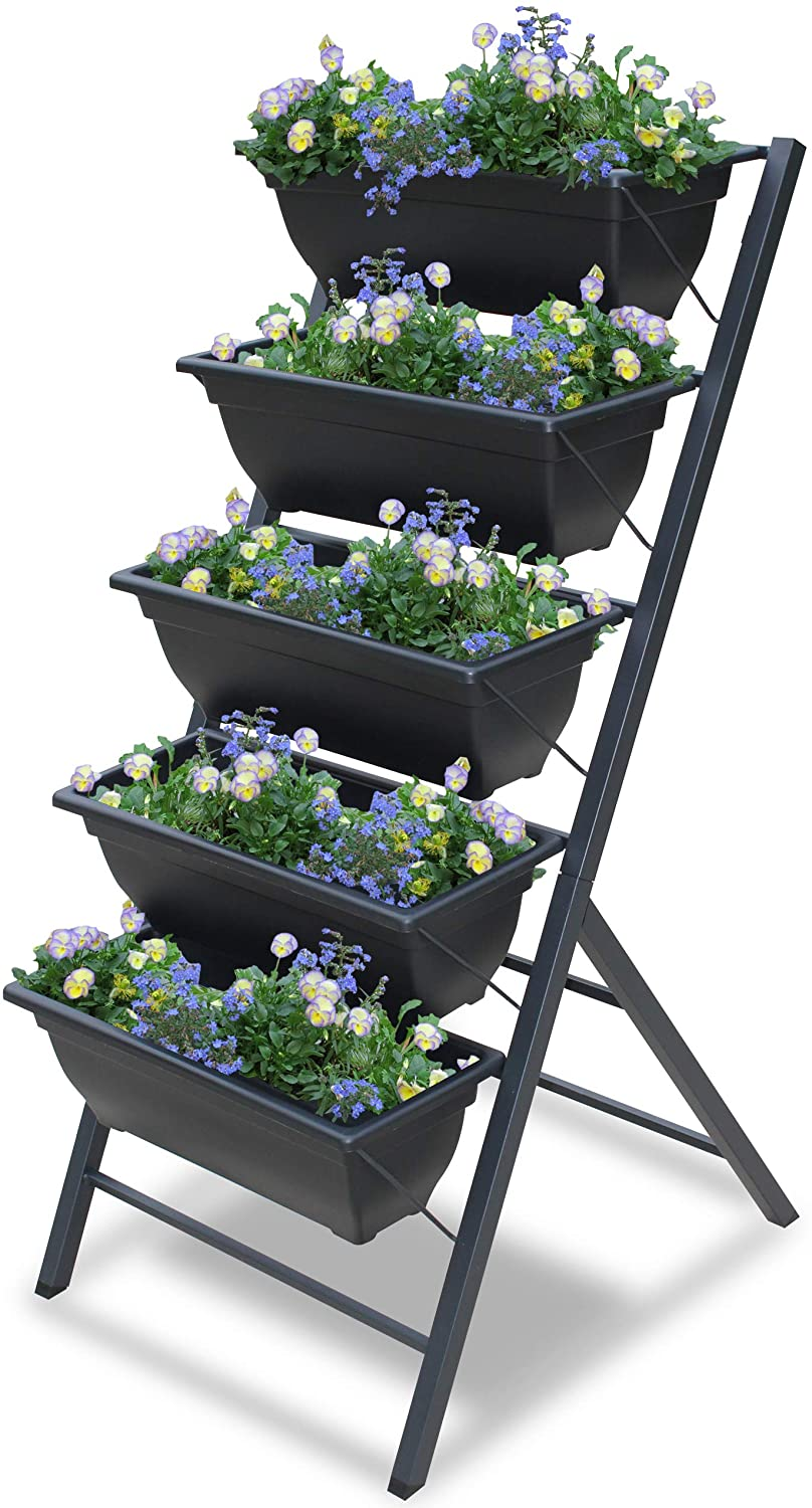 Vertical Garden Planter - 5 Tiered Raised Garden Box -3 3/4 feet high - Indoor or Outdoor planters for Flowers, Herbs, Vegetables or Seeds - Garraí