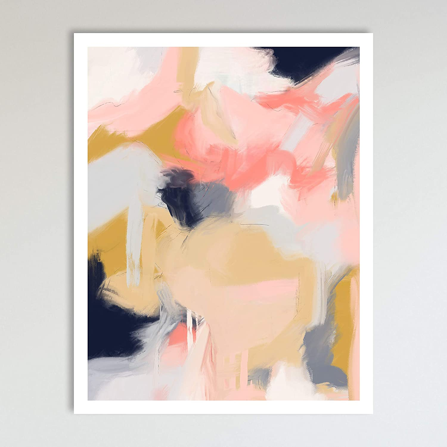 Morning Blossoms, Minimalist Abstract Art, Pink and Cream Contemporary Wall Art For Bedroom and Home Decor, Modern Boho Art Print Flowers Floral Poster Wall Decor 11x14 Inches, Unframed