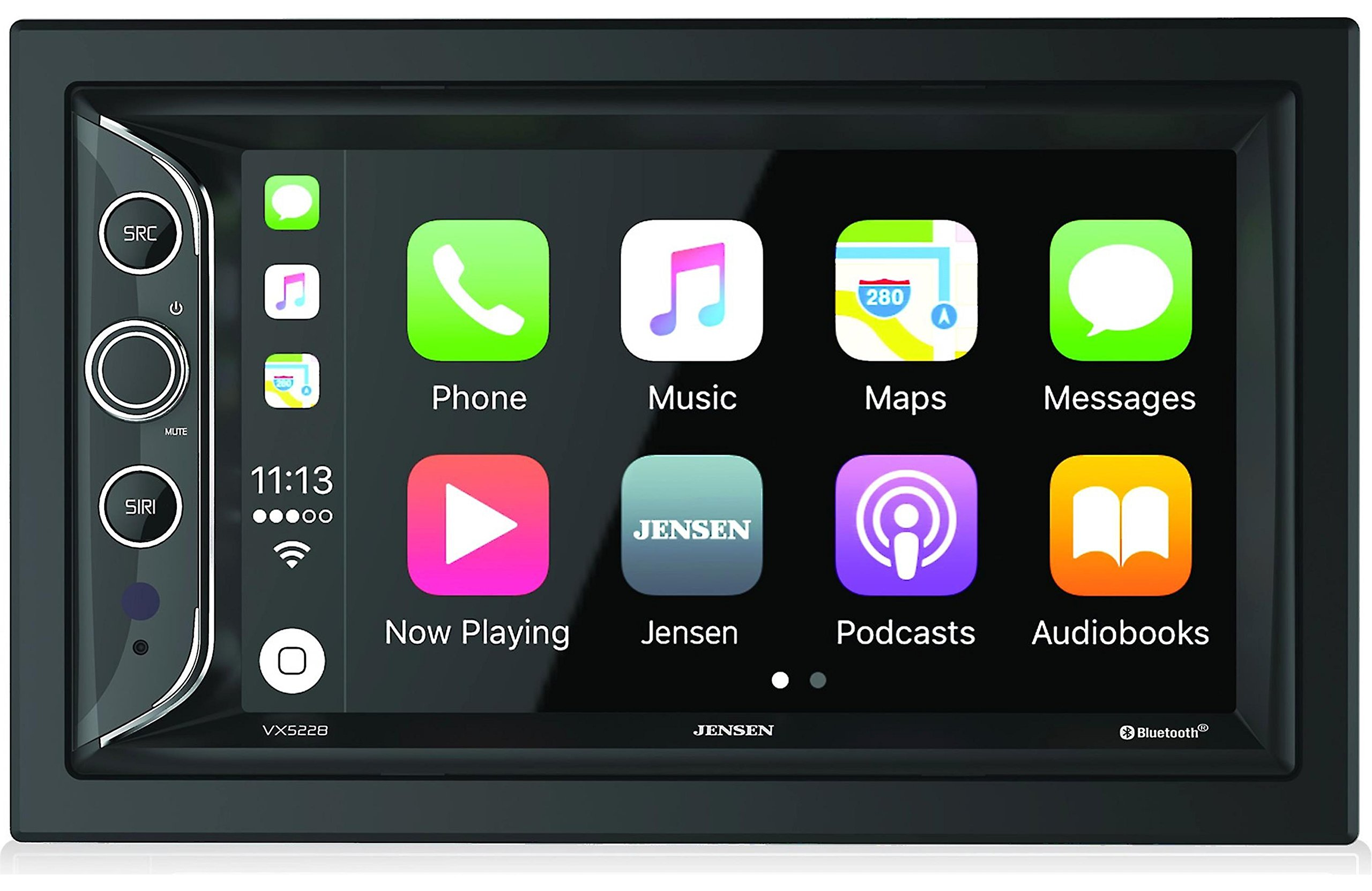 Jensen VX5228 6.2'' LED Backlit LCD Digital Multimedia Touch Screen Double DIN Car Stereo with Built-In Apple CarPlay, Bluetooth & USB Port