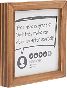 Okuna Outpost Funny Kitchen Sign, Food Here is Great (8 x 8 x 1 Inches)