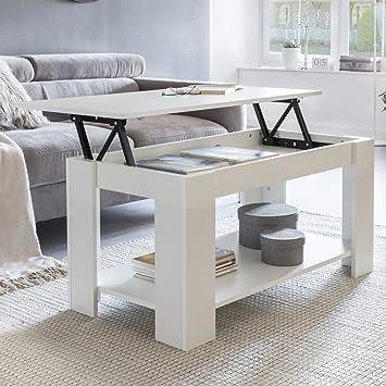 FineBuy Couchtisch LEYA Weiß Holz 100 x 50 x 50 cm höhenverstellbar ...