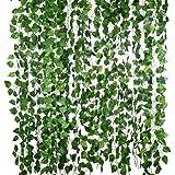 CLISPEED Folhas Artificiais de Ivy Plantas Videira Com Laços Pendurados Guirlanda Flores Folhagem Falsa Folhas Verdes Falsas