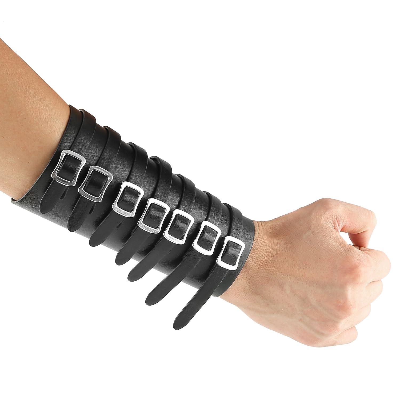 HZMAN Leather Gauntlet Wristband Medieval Bracers Wrist Band Wide Bracer Arm Armor Cuff (Black 1 Pcs) PHW7507C-1