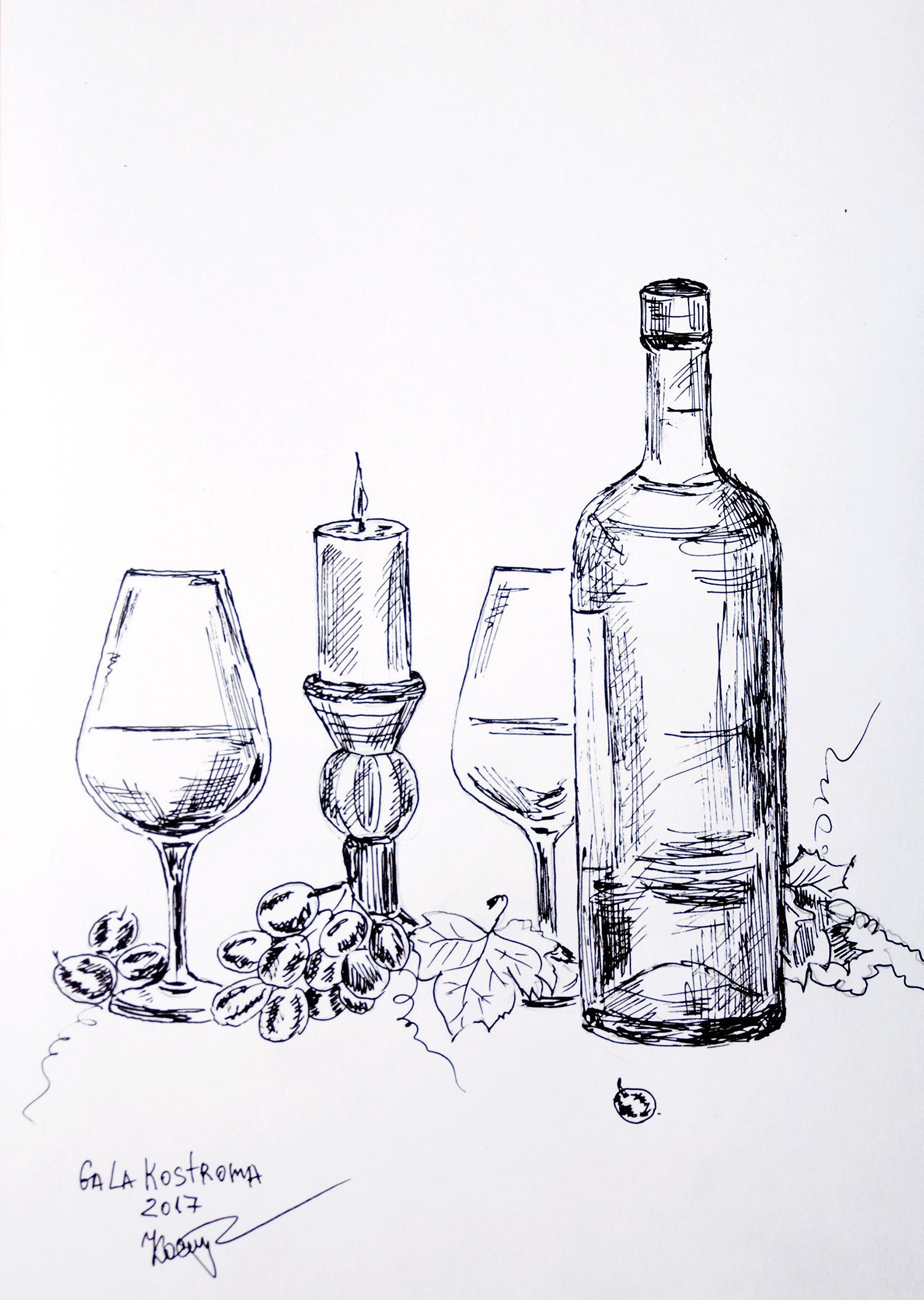 Dinner With Wine original ink drawing