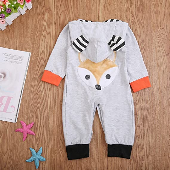 Urkutoba Lovely Fox Toddler Baby Boy Girl Hoodie Romper Jumpsuit Bodysuit Coverall Pajamas Outfit Clothes Set
