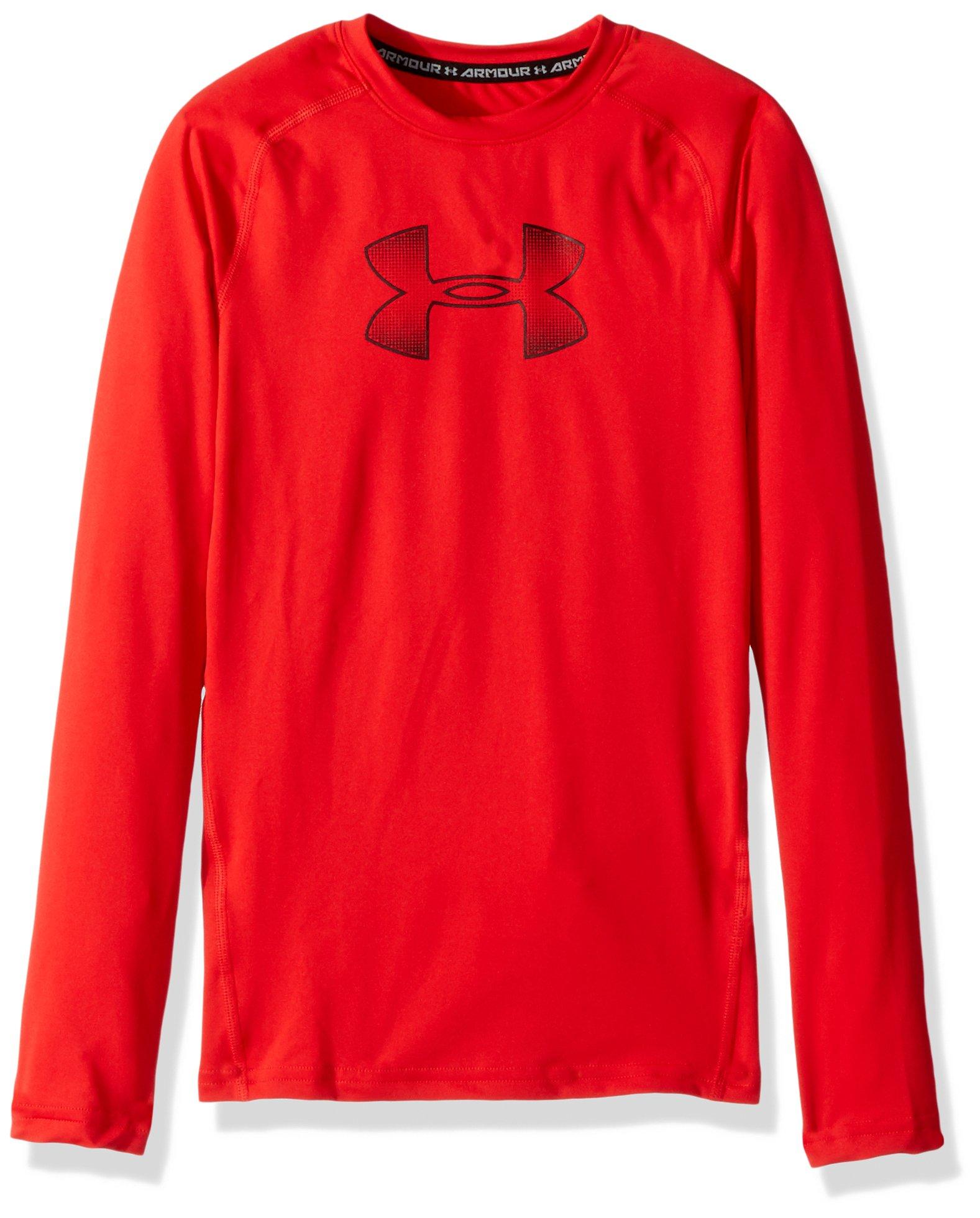 Under Armour Boys' HeatGear Armour Long Sleeve, Red (601)/Black, Youth X-Small