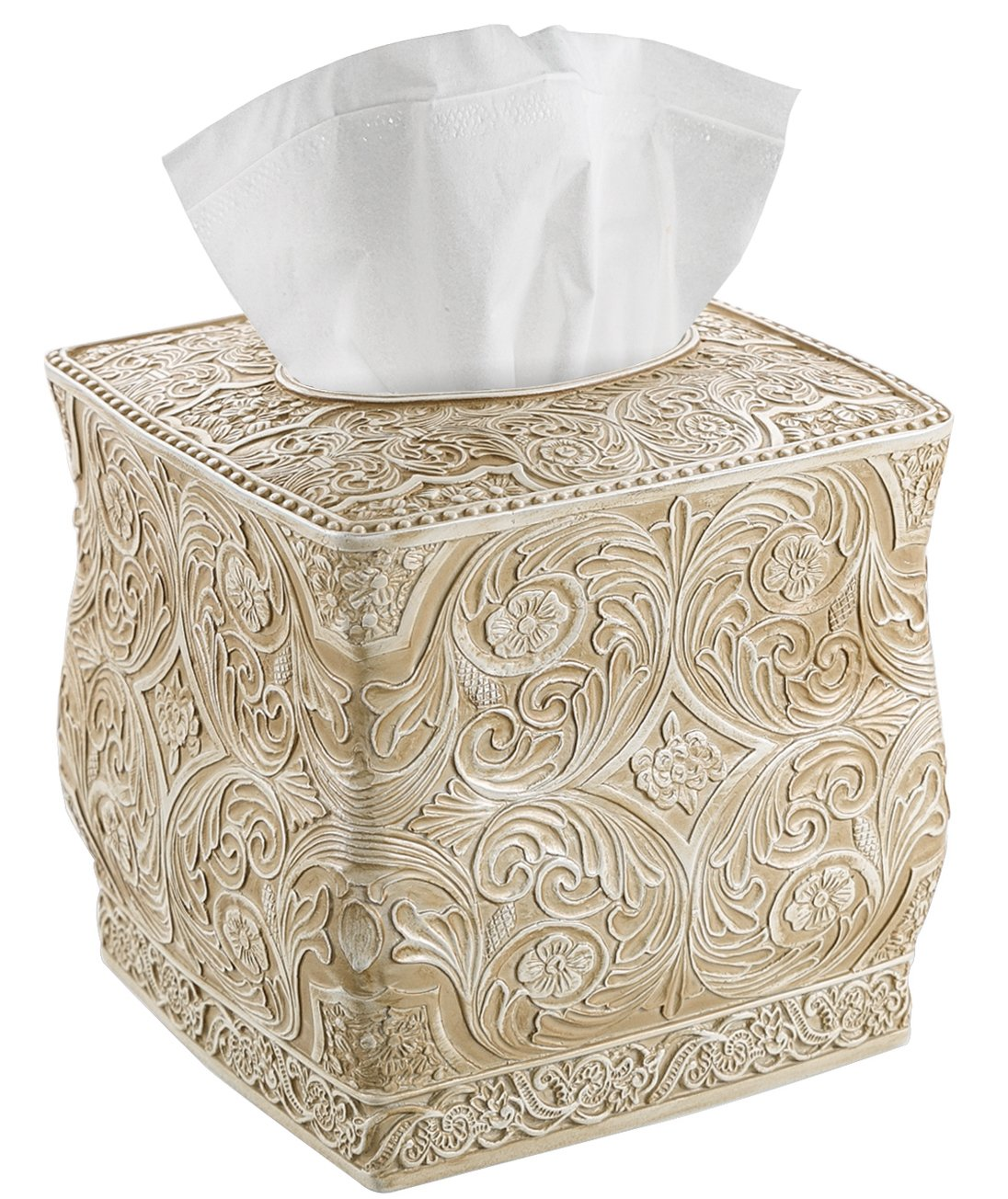 Creative Scents Square Tissue Box Cover - Decorative Bathroom Tissue Holder is Finished in Beautiful Victoria Collection for Cute Elegant Bathroom Decor (Beige)
