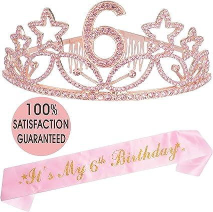 Amazon.com: Tiara y fajín de 6 cumpleaños, color rosa ...