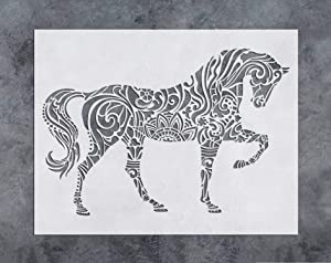 GSS Designs Horse Wall Decor Stencil - Mandala Horse Stencil (12x16 Inch) Laser Cut Painting Stencil - Floor Wall Tile Fabric Wood Stencils -Reusable Template for Wall Decals Transfer(SL-022)