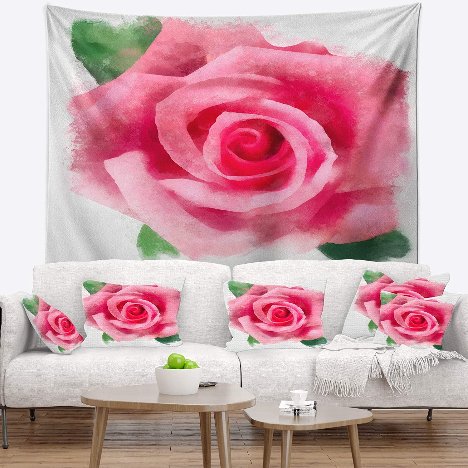 Created On Lightweight Polyester Fabric x 39 in 32 in Designart TAP13561-32-39  Big Pink Rose Flower with Leaves Floral Blanket D/écor Art for Home and Office Wall Tapestry Medium