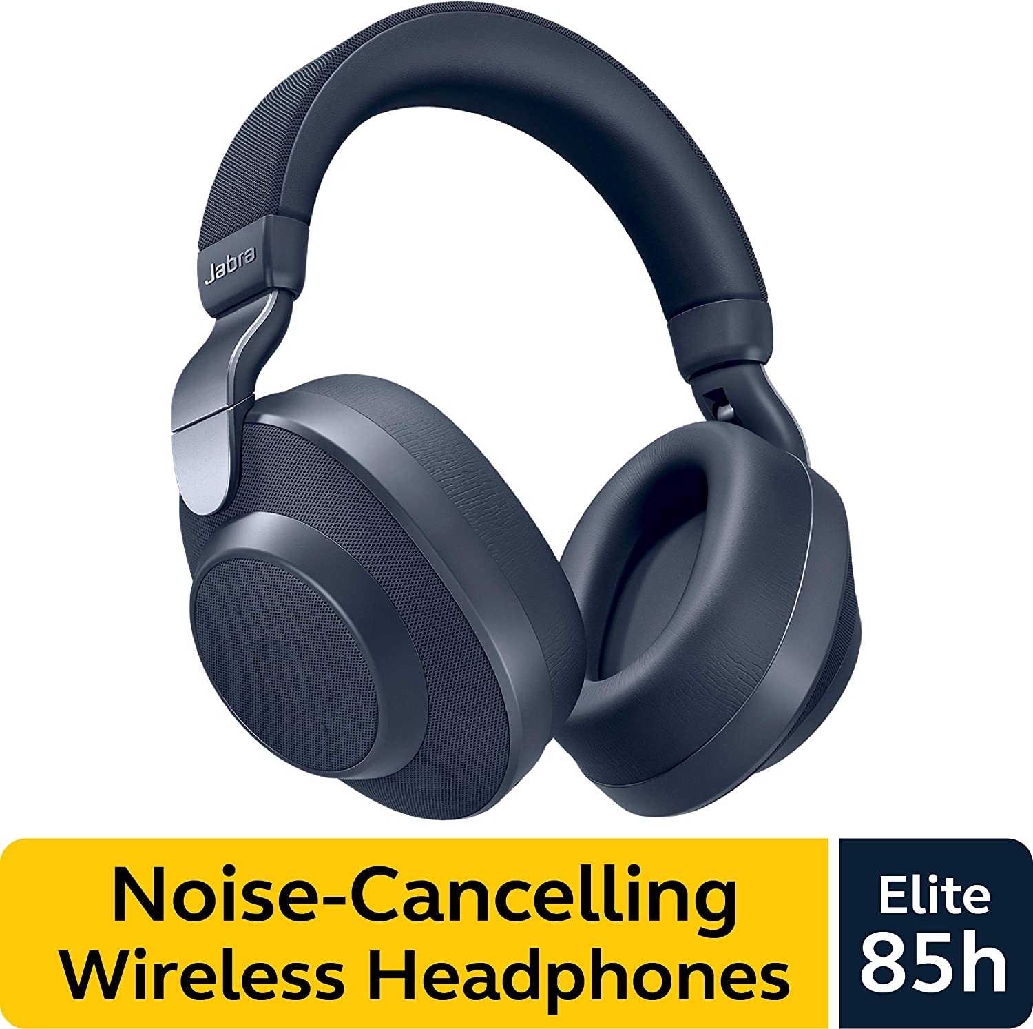 Jabra Elite 85h Wireless Noise-Canceling Headphones, Navy – Over Ear Bluetooth Headphones Compatible with iPhone and Android - Built-in Microphone, Long Battery Life - Rain and Water Resistant