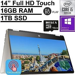 "2020 HP Pavilion X360 2-in-1 Convertible Business Laptop   14"" FHD Touchscreen   10th Gen Intel Core i5-10210U (> i7-8550U) 16GB RAM 1TB SSD   Backlit KB Fingerprint Win 10 Pro + Delca 16GB SD Card"