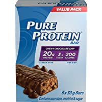 Pure Protein Chewy Oat Bars, Gluten Free, Snack Bar, Chocolate Chip, 50 gram, 6 Count