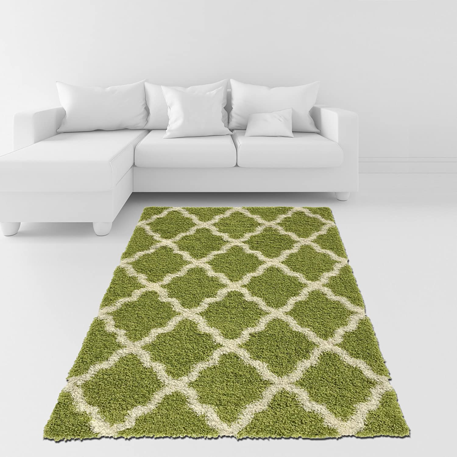 Amazon Com Soft Shag Area Rug 5x7 Moroccan Trellis Green Ivory Shaggy Rug Contemporary Area Rugs For Living Room Bedroom Kitchen Decorative Modern Shaggy