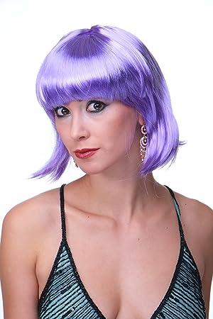 WIG ME UP Peluca púrpura de mujer estilo Bob carnaval fiesta disco PW0114-P08