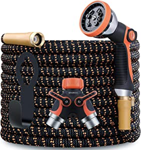 ENZOO Garden Hose Expandable- 4-Layers Latex/Superior Strength 3750D/3/4 Strong Brass Connectors/2-Way Pocket Flexible Splitter with 10 Function Zinc Spray Nozzle (50 Feet)