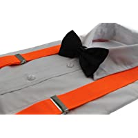 Zasel Mens Fluro Orange 100cm Wide Suspenders & Black Bow Tie Set
