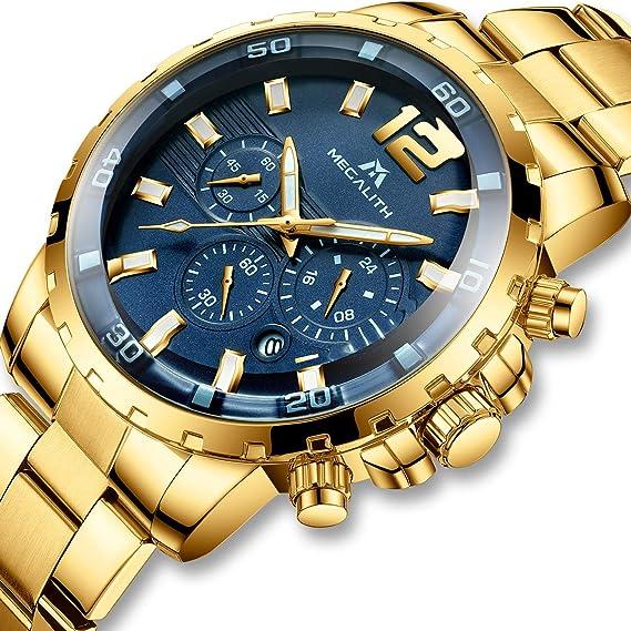 Relojes Hombre Relojes Grandes de Pulsera Militares Cronografo Oro Lujo Diseñador Luminosos Impermeable Reloj Hombre Deportivos