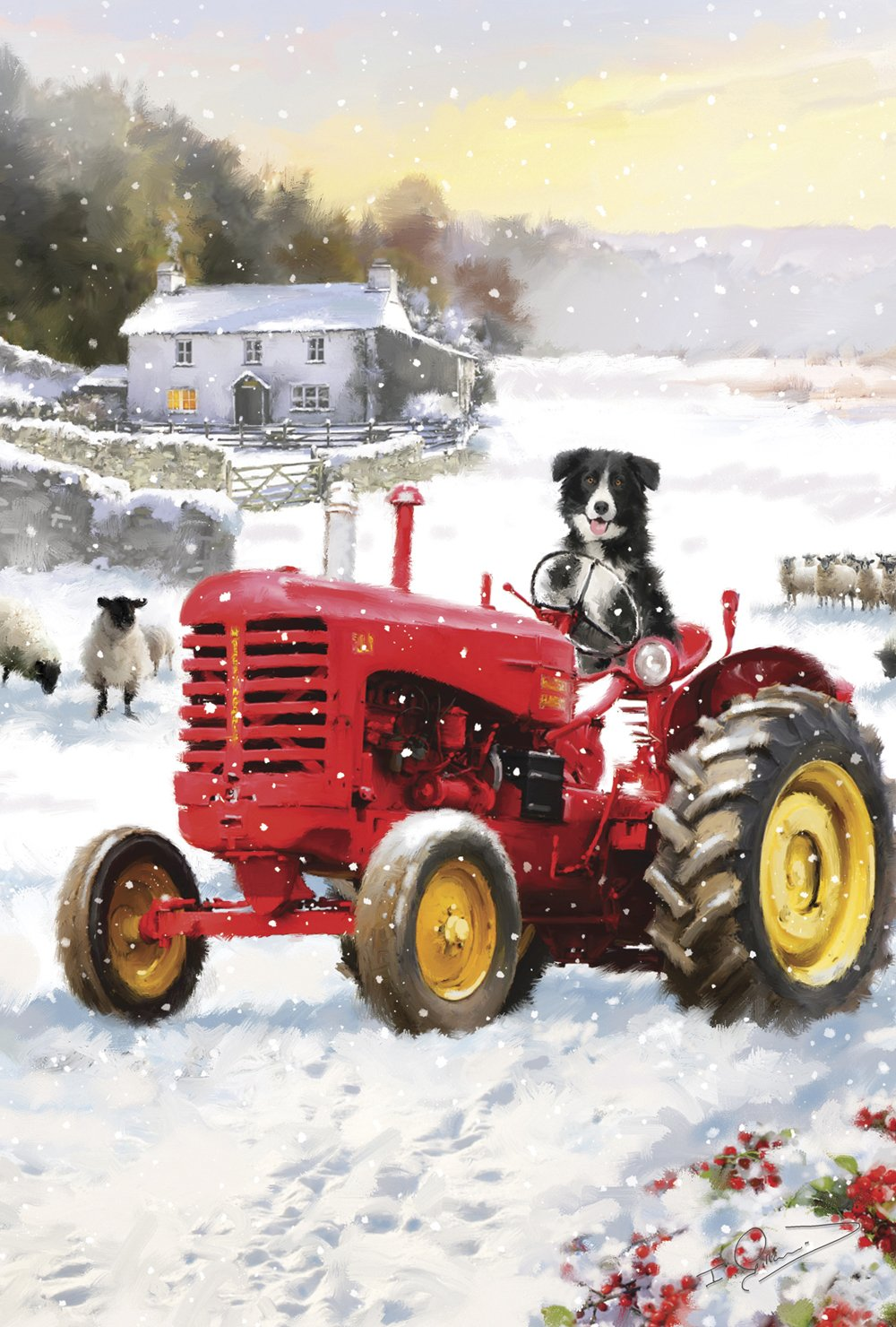 Toland Home Garden Tractor Dog 28 x 40 Inch Decorative Winter Snow Country Farm Puppy Sheep House Flag