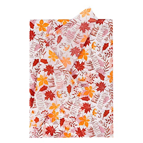 Ruspepa Gift Wrapping Tissue Paper 24 Sheets Maple Leaf Autumn Design Gift Wrap Paper Bulk For Packing Diy Crafts 50 X 70 Cm