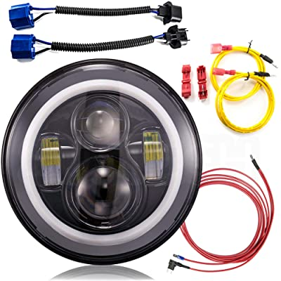 7 Inch LED Headlight Conversion Kits With Super Bright LEDs DLR Halo Light For Jeep Wrangler Jk TJ FJ cruiser Hummer Trucks Motorcycle Headlamp - H4 to H13 Adapter by SuiTech (White Halo Pair): Automotive