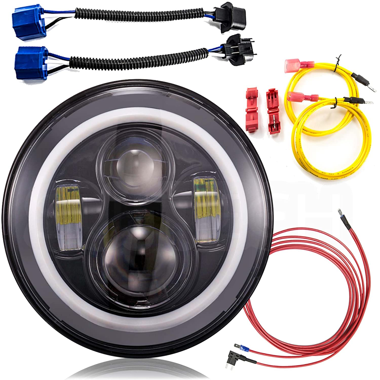 Jeep Wrangler Headlights 7 Inch Round Led Headlight 86 Cj7 Wiring Conversion Kit Dlr Light Assembly For Jk Tj Fj Hummer Trucks Motorcycle Headlamp Super