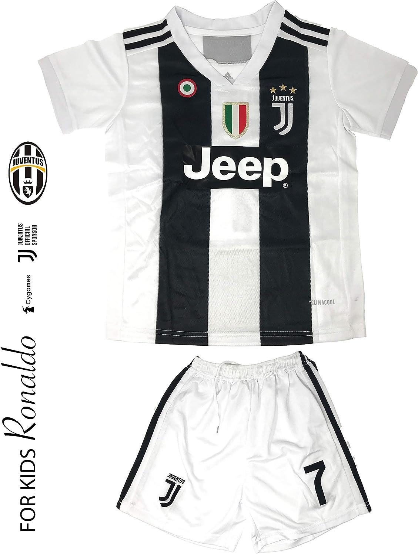 Juventus - Camiseta de fútbol para niños en temporada 2019 – Juventus Ronaldo Nº 7 – Kit de camiseta réplica + pantalón corto incluye todos los logos de parches – Kit de