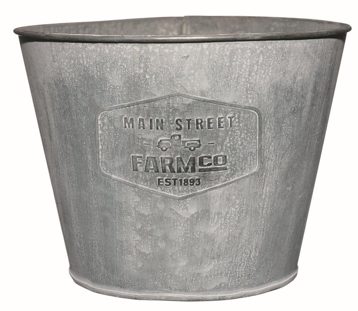 Distressed Galvanized Tin Planter – Medium