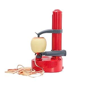 Dash DAP001RD Rapid Electric Potato Peeler Tool + Fruit Skinner with BPA Free Plastic, Auto Shut Off Function, 2 Replacement Blades, Paring Utensil & Recipe Book Red