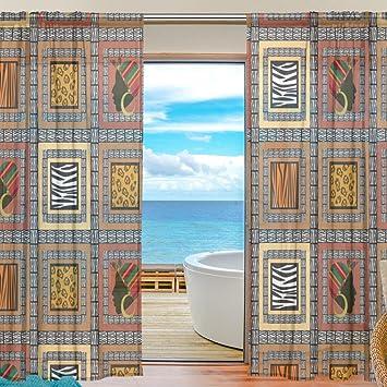 SAVSV Fenêtre Sheer Rideaux Motif Style Africain Moderne Rideaux Panneaux  Voile En Tulle De 198,1 ...