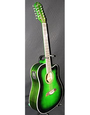 Oscar Schmidt 12 String Acoustic/Electric Guitar, Spruce Top, Trans Green OD312CETGR