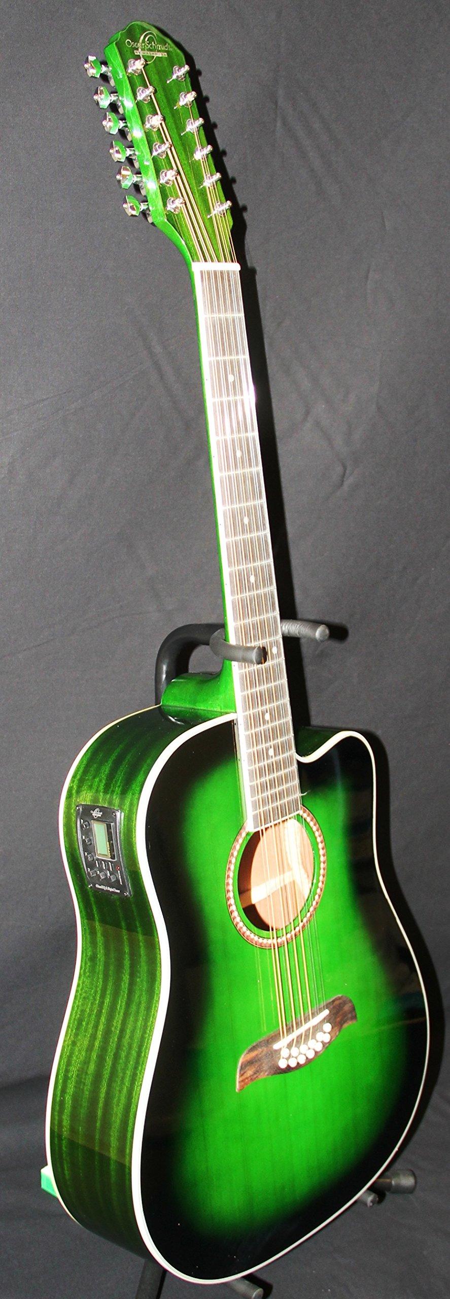 oscar schmidt 12 string acoustic electric guitar spruce top trans green od312cetgr guitar. Black Bedroom Furniture Sets. Home Design Ideas
