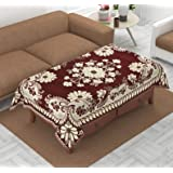 Luxury Crafts™ Luxurious Attractive Design Chenille 4 Seater Centre Table Cover (Maroon)