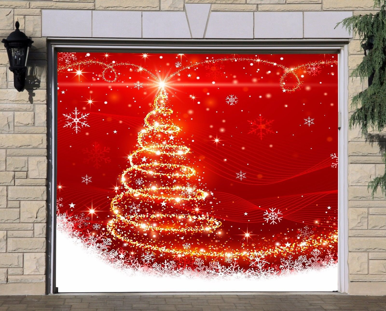Single Garage Door Covers Merry Christmas Billboard Full Color Door Decor Decorations of House Garage Christmas Tree 3D Effect Print Holiday Mural Banner Garage Door Banner Size 83 x 89 inches DAV28 by WallTattooHome