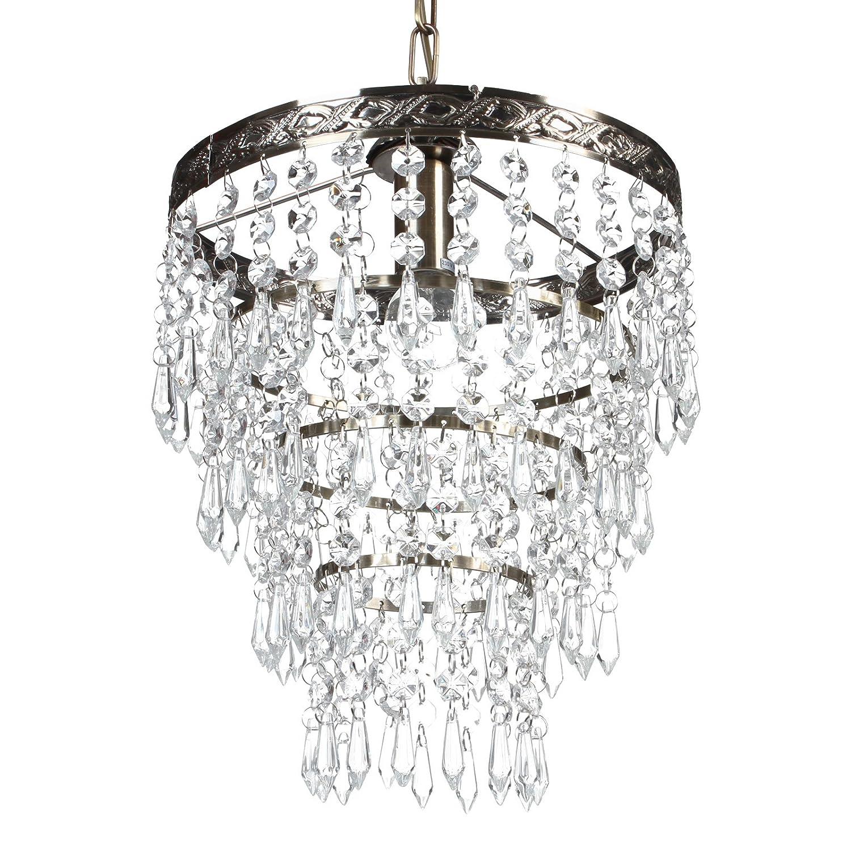 Deckenleuchte mit Kristallen (Silber) Deckenlampe Kronleuchter ...