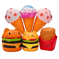 WATINC Jumbo Food Squishies hamburger fries&pink ice cream Kawaii Squishy Slow Rising Sweet Scented Vent Charms Kid Toy Lovely Toy Stress Relief Toy Food Gift Fun Large(fries&pink ice cream)