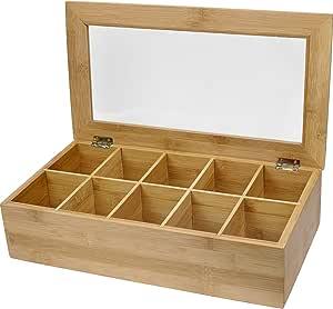 Estilo Bamboo Tea Storage Box, 10 Equally Divided Compartments