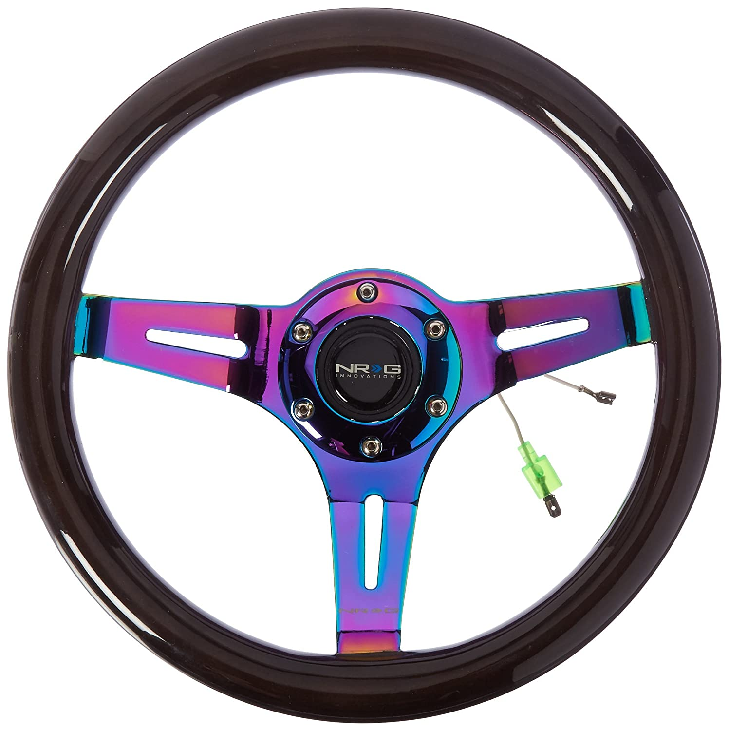 NRG Innovations ST-310BK-MC Classic Black Wood Grain Wheel (310mm, 3 Spoke Center in Neochrome)