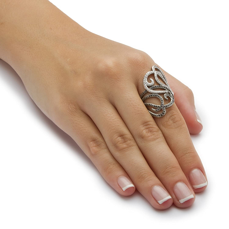 Seta Jewelry Black and White Cubic Zirconia Silvertone and Black Ruthenium Freeform Hearts Ring