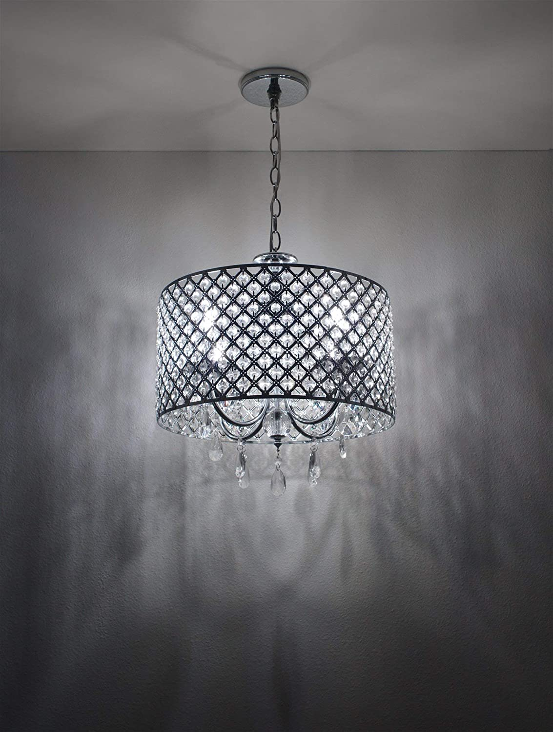 Black Finish Beaded Drum Shade Adjustable Chain Kira Home Briolette 16 Modern Chic 4-Light Crystal Pendant Chandelier Dimmable