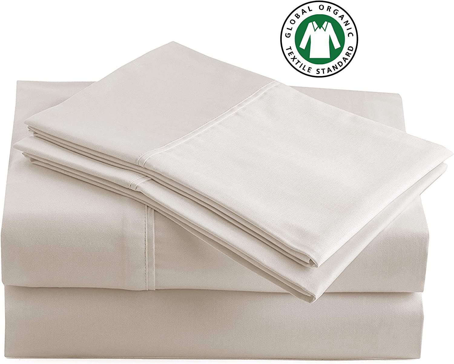 """100% Organic Cotton Moonstruck Queen-Sheets Set, 4-Piece Pure Organic Cotton Long Staple Percale Weave Ultra Soft Best Bedding Sheets for Bed, Breathable, GOTS Certified, Fits Mattress Upto 17"""" Deep"""