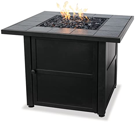Patio Fire Pit LP Gas Outdoor Fire Bowl with Slate Tile Mantel
