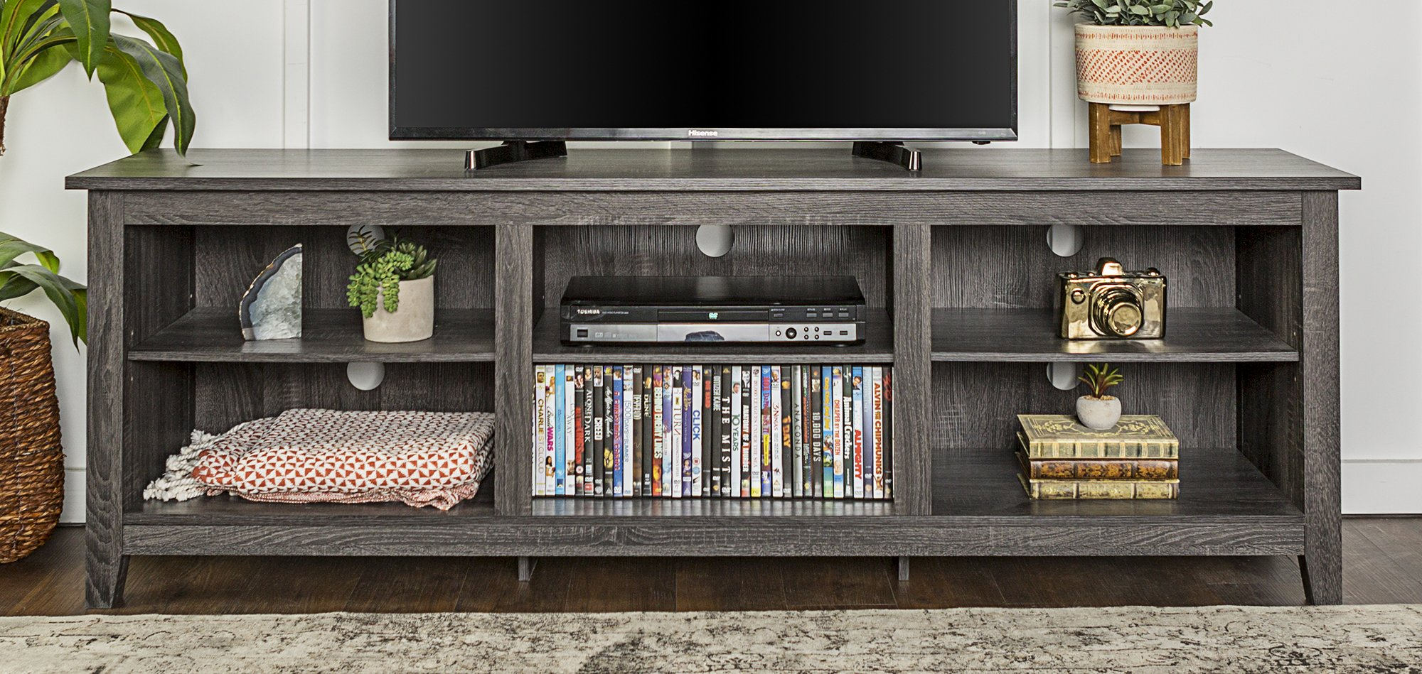 WE Furniture 70'' Wood Media TV Stand Storage Console - Charcoal