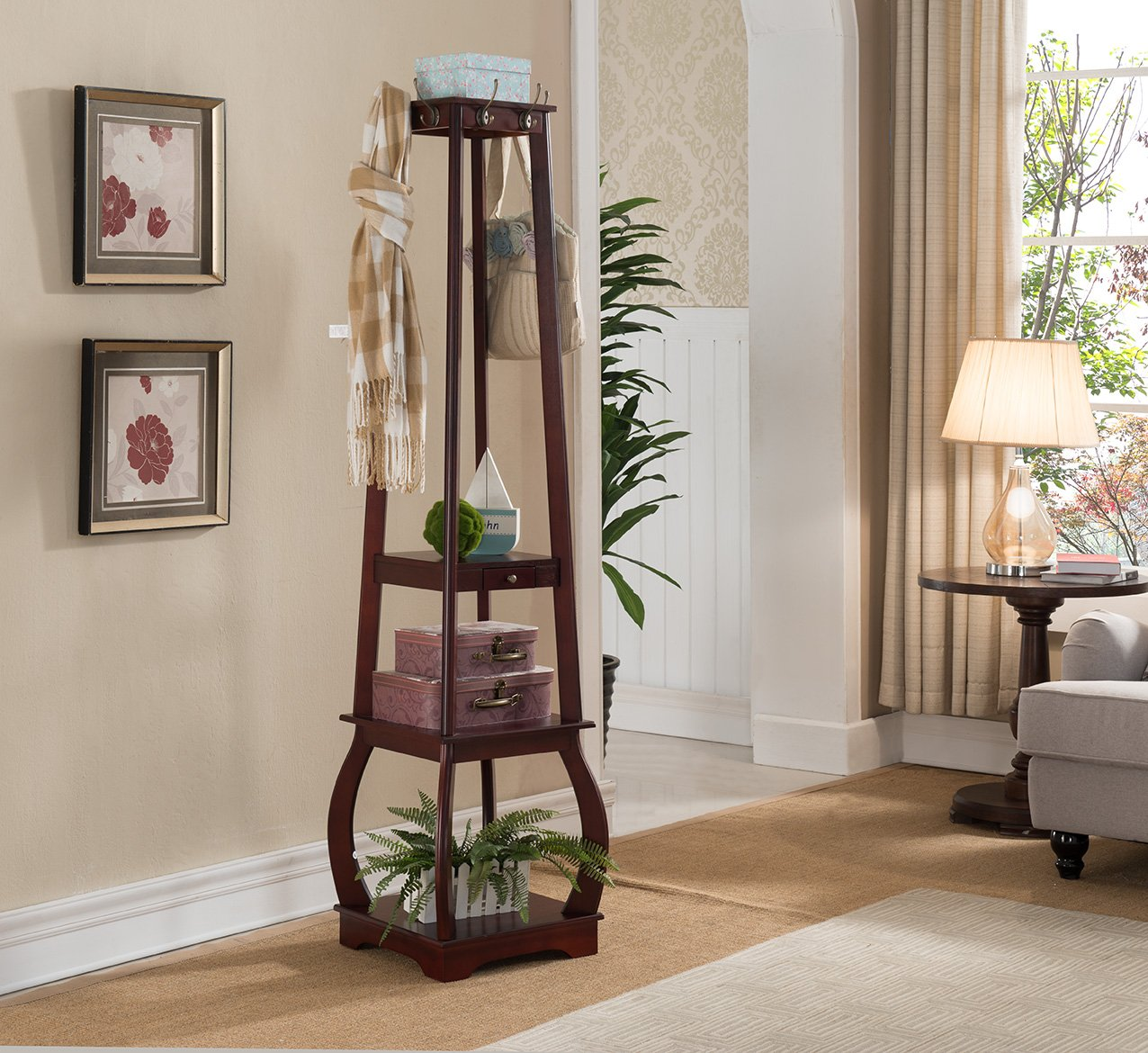 Kings Brand Furniture Entryway Coat Rack with Storage Shelves Drawer, Cherry