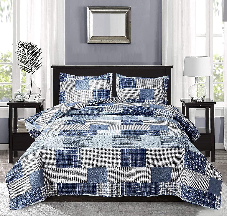 Blue Plaid Quilts Set Lightweight Summer Bedding Twin Size, 3Pcs Modern Patchwork Bedspreads Reversible Stripe Coverlet Pillow Shams