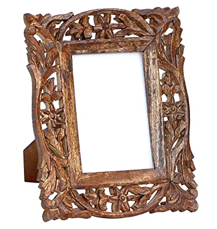 Ordinaire Handmade Wooden 4x6 Inches Photo Picture Frame   Hand Carved Vintage Look  Wooden Photo Frame