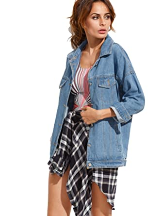 5601057712 SheIn Women's Loose Fit Long Sleeve Boyfriend Denim Jacket X-Large Blue