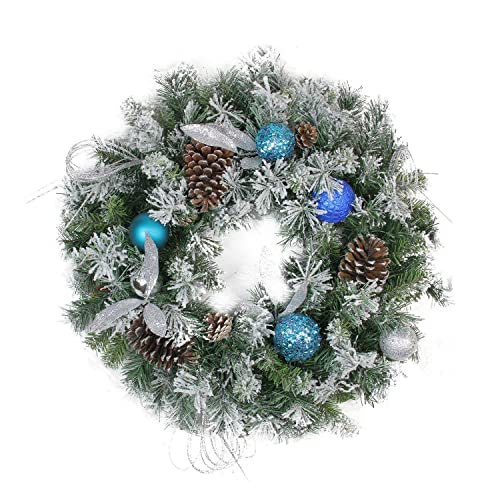 northlight teal and silver ball flocked with pine cones artificial christmas wreath unlit 24