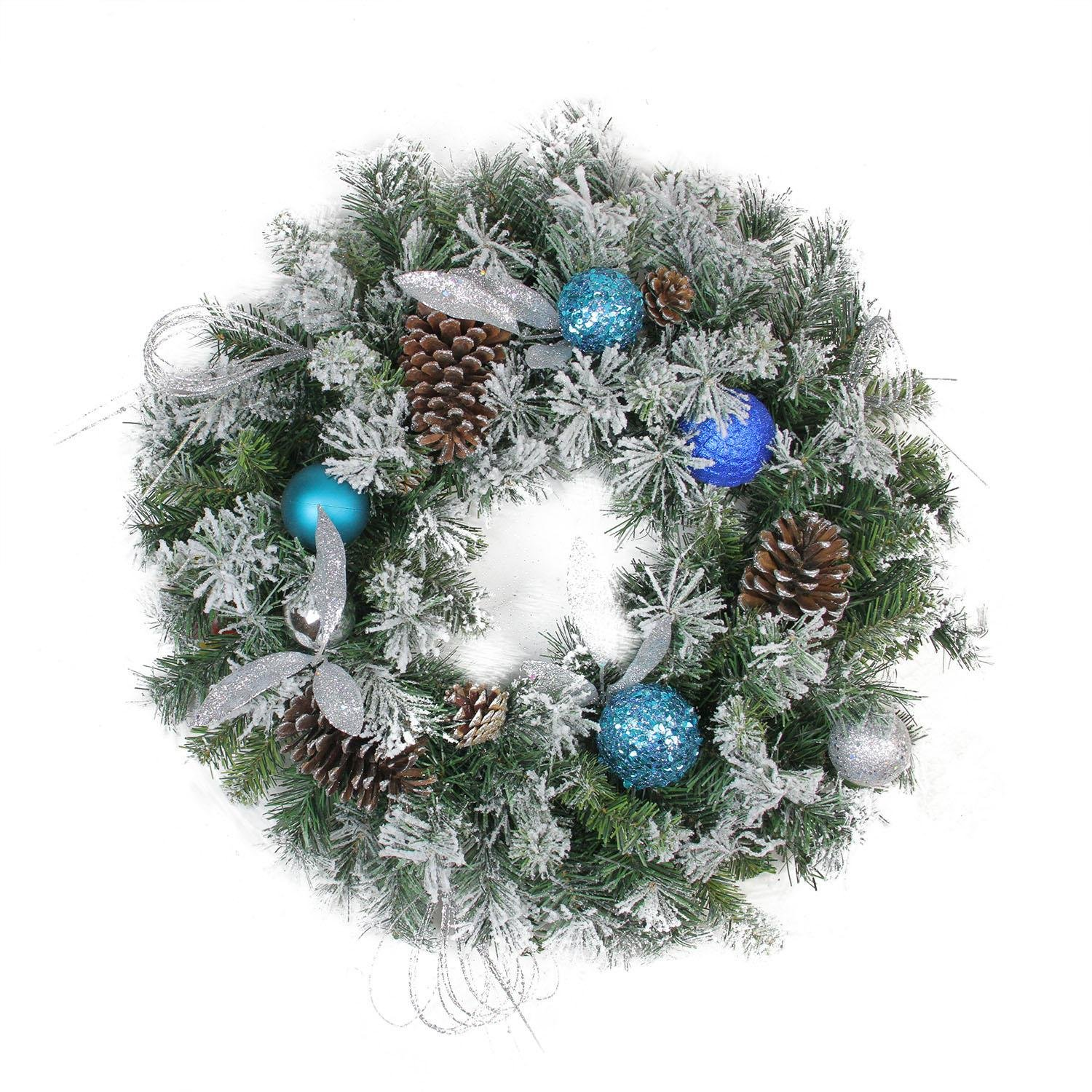 Northlight Teal and Silver Ball Flocked with Pine Cones Artificial Christmas Wreath-Unlit, 24'', Blue